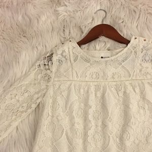 Lace   top with dainty gold buttons